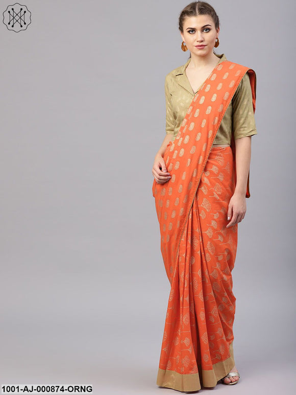 Orange Gold Printed Saree & Blouse