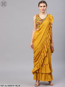Yellow Solid Saree With Printed Blouse