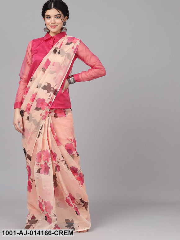 Cream & Pink Floral Print Saree With Blouse