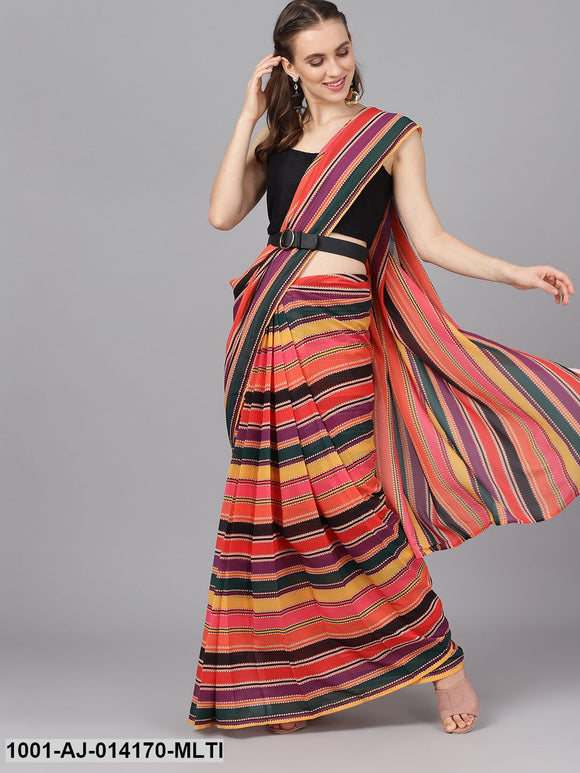 Multicolored Printed Saree With Blouse