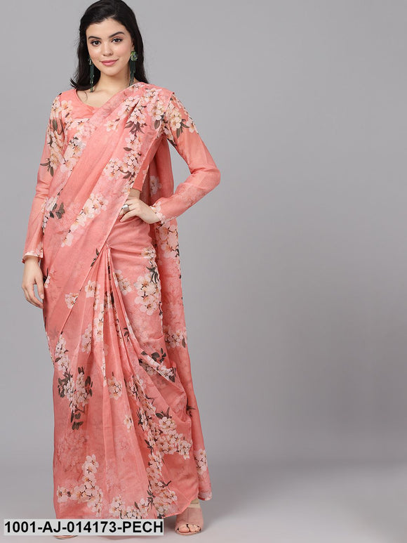 Pastel Peach Floral Print Saree With Blouse