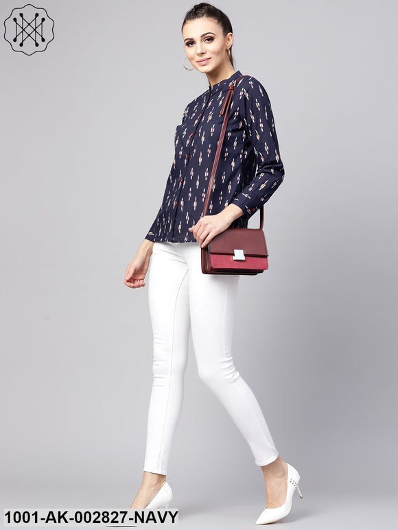 Blue Ikat Printed Shirt