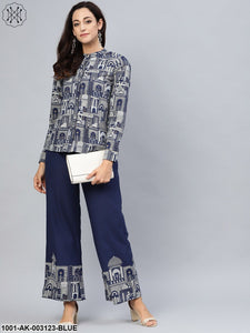 Blue Hawa Mahal printed Shirt with contrast detail