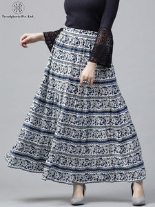Navy Blue & White Printed Tiered Skirt
