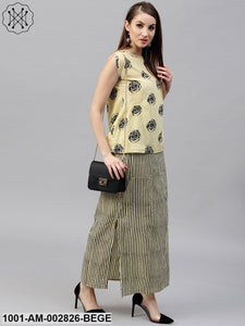 Beige & Black Bagri Stripe Printed Straight Skirt