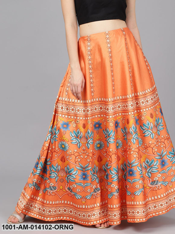 Orange Digital Print Skirt
