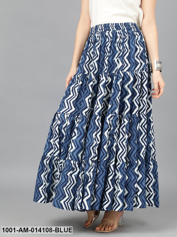 Indigo & White Zig-Zag Printed Tiered Skirt
