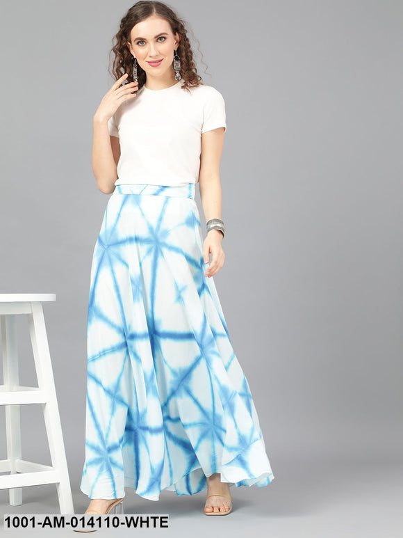White & Blue Tie And Dye Printed Skirt