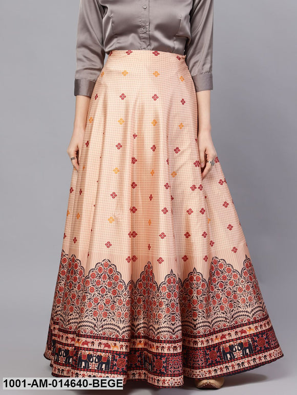 Beige & Red Digital Print Skirt