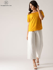 Yellow Solid Off-Shoulder Top