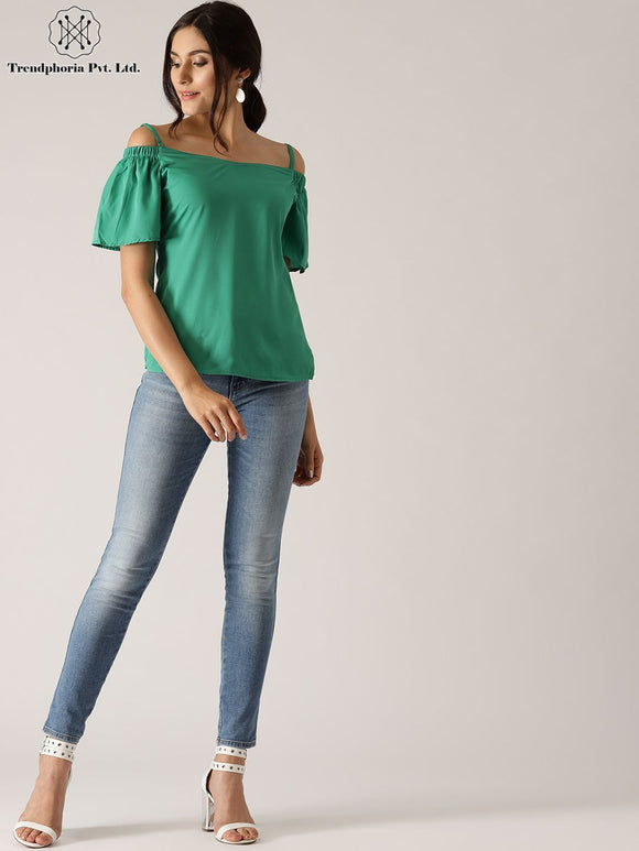 Green Solid Cold Shoulder Top