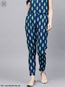 Blue & White Printed Pintuck Pant