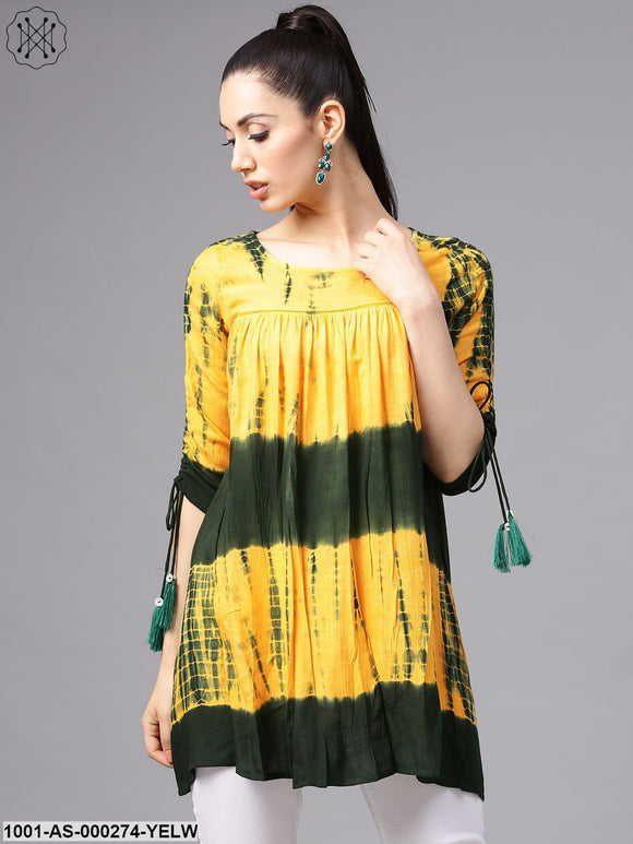 Yellow & Green tie & dye Tunic with ladder lace details