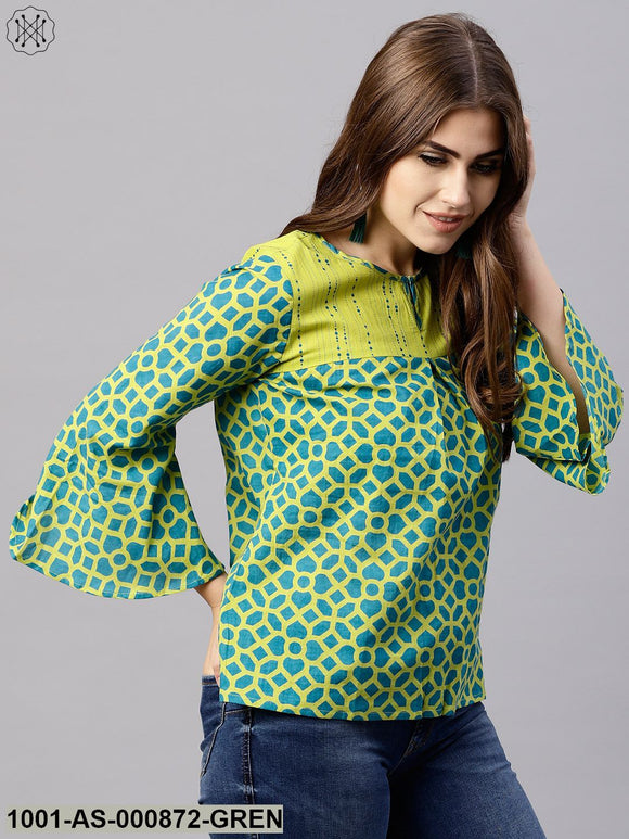 Green Printed Tunic With Pom-Pom Details