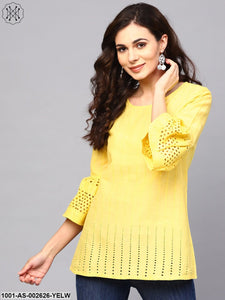 Yellow Chikankari Work Tunic With Ruffle Sleeve