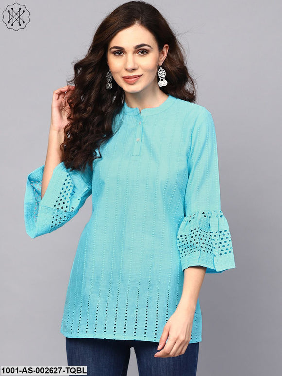 Turquoise Blue Chikankari Work Tunic With Ruffle Sleeve