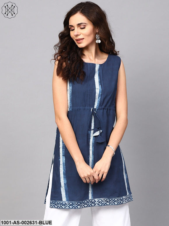 Blue Solid Sleeveless Tunic
