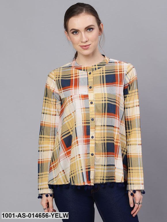 Yellow & Blue Check & Printed Tunic