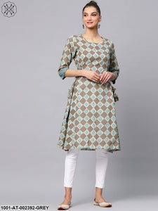 Grey & Blue Printed A-Line Kurta With Tassel Details