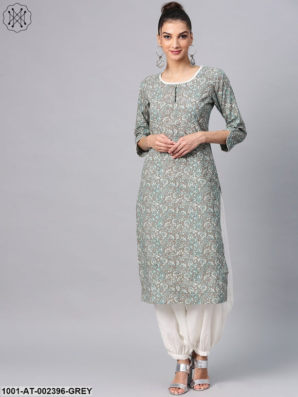 Grey & Blue Floral Printed Straight Kurta