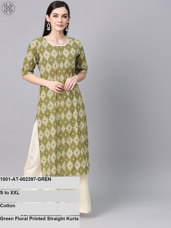 Green Floral Printed Straight Kurta