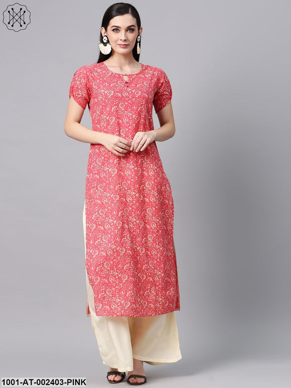 Pink & Cream Printed Straight Kurta