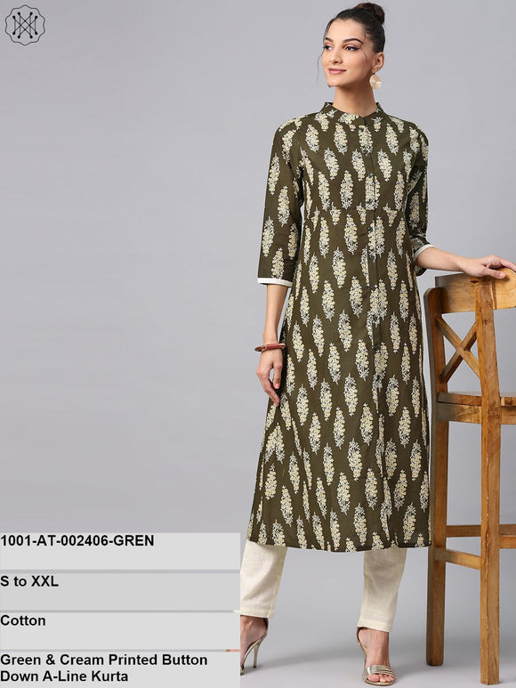 Green & Cream Printed Button Down A-Line Kurta