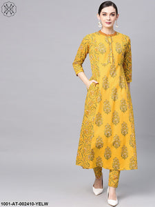 Yellow Floral Printed A-Line Kurta