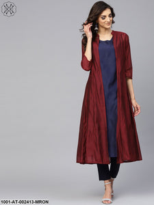 Maroon & Navy Blue Double Layered A-Line Kurta