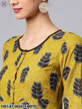 Mustard & Blue Printed Button Down A-Line Kurta