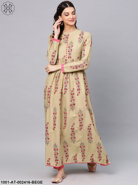 Beige & Pink Printed Flared Anarkali