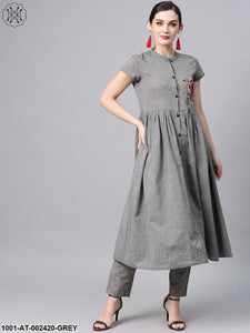 Grey Chambray Embroidered Pleated A-Line Kurta