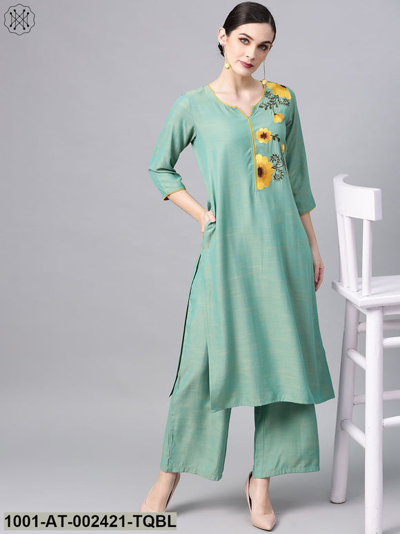 Turquoise Blue Embroidered Straight Kurta