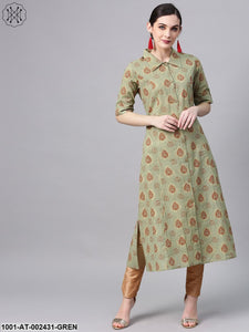 Green & Maroon Gold Printed Button Down Kurta