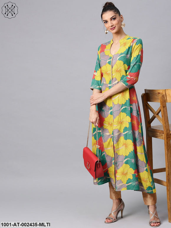 Multicolour Big Floral Printed A-Line Kurta