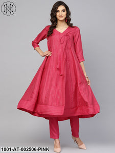 Pink Striped Woven design Flared Anarkali