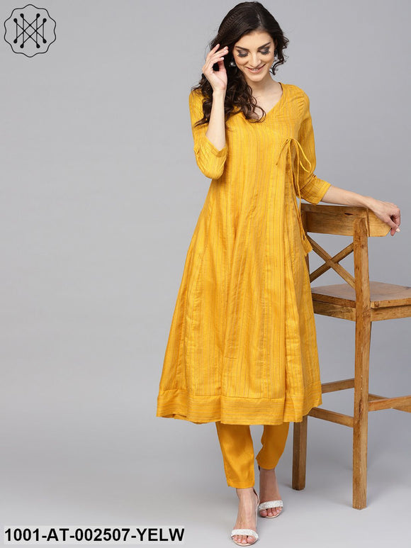Yellow Striped Woven design Flared Anarkali