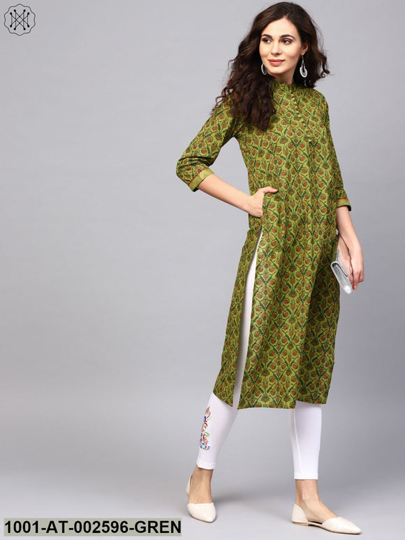 Green Printed Straight Kurta