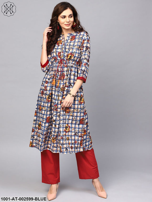 Blue & Maroon Floral With Check Print A-Line Kurta