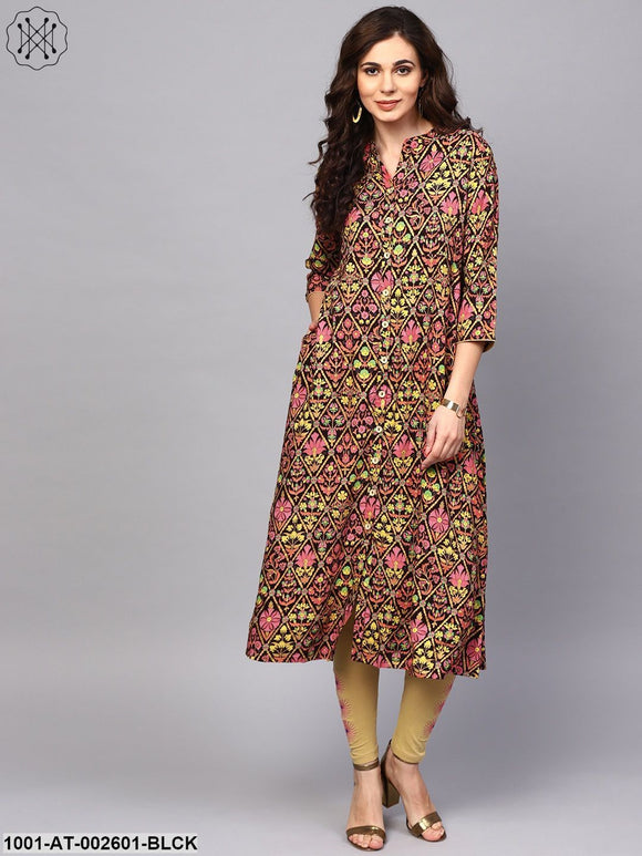 Black & Pink Gold Printed Button down Straight Kurta