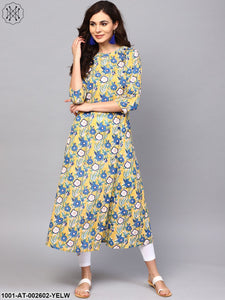 Yellow & Blue Floral Printed A-Line Kurta
