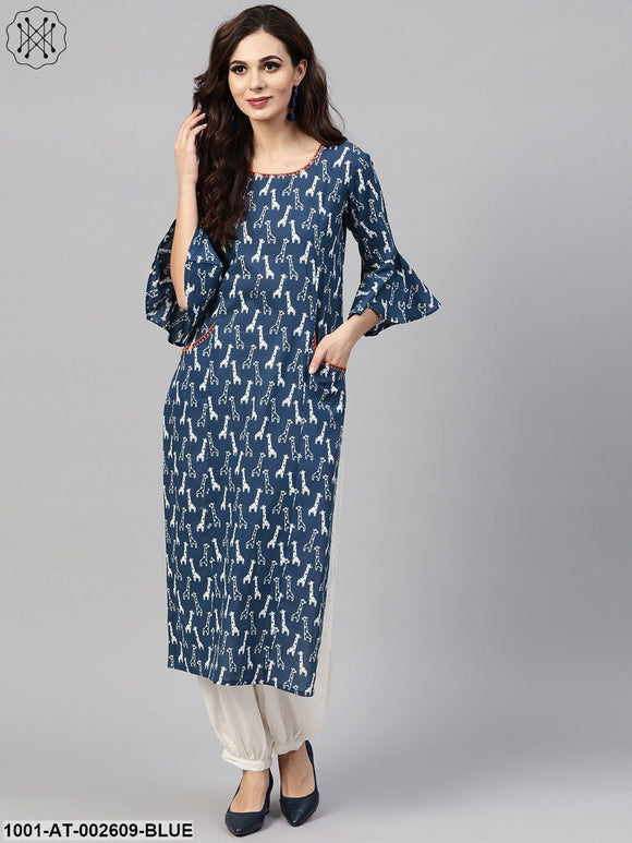 Indigo & White Printed Straight Kurta