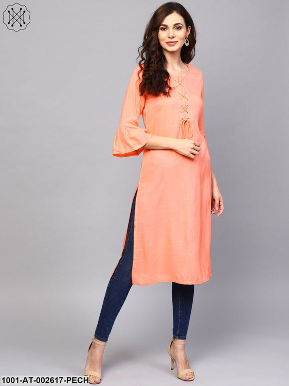 Peach Solid Straight Kurta