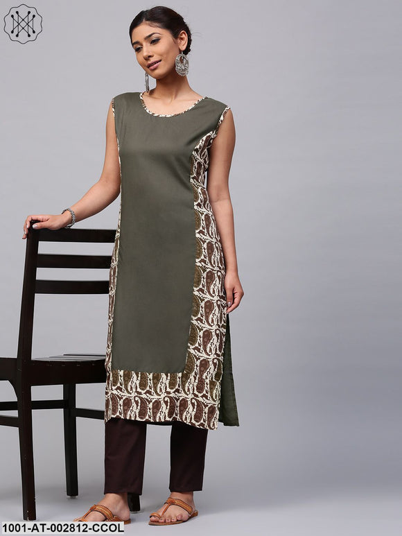 Grey Printed Sleeveless Straight Kurta