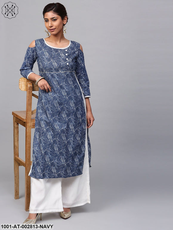 Blue & White Printed Cold Shoulder Kurta