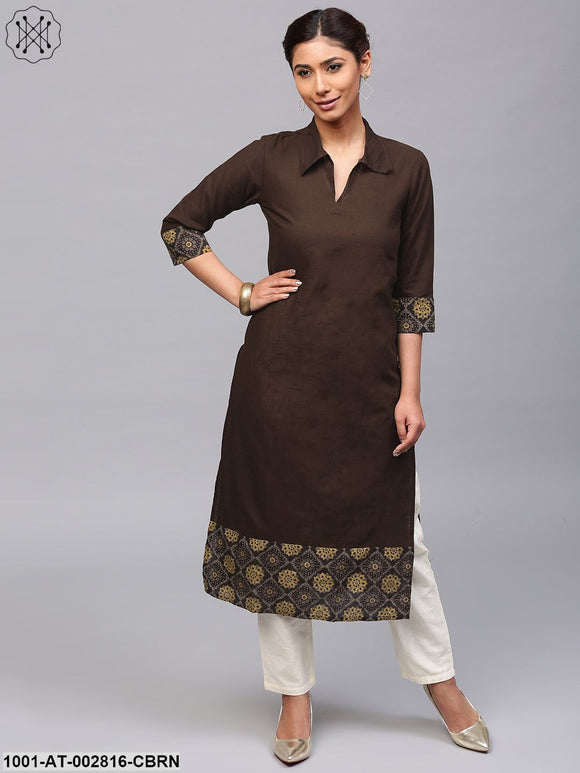 Coffee Brown Solid Straight Kurta With Printed Hemline