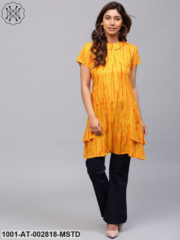 Mustard Shibori Printed A-Line Kurta with pocket details