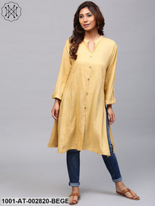 Beige Solid Button Down A-Line Kurta