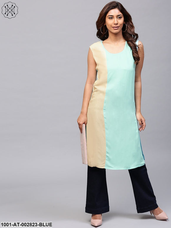 Sky Blue & Beige Color blocked Sleeveless Kurta