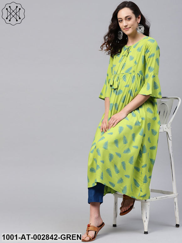 Green Printed Pleated Maternity Kurta